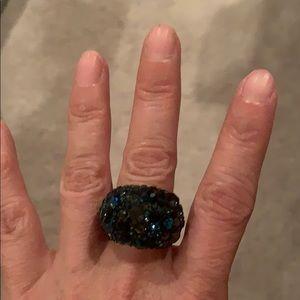 SWAROVSKI blue/black crystal cocktail ring sz 52